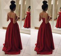 Wholesale Teenage Evening Dresses - Dark Red Satin Strapless Prom Dresses 2017 Elegant Teenage Party Dresses Aline Backless Long Evening Gowns Formal Dresses Sweep Train