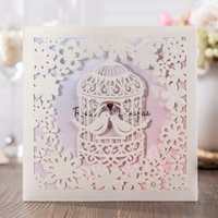 Wholesale Invitations Cards Rsvp - Invitation Cards with Birdcage Design Wedding Cards Laser Cut Card Free Thank You RSVP Envelopes CW6113
