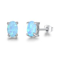 Wholesale Sterling Silver Fire Opal Jewelry - Aquamarine Opal Jewelry Blue Fire Opal Stud Earrings 925 Sterling Silver Simulated Diamond Earrings For Women