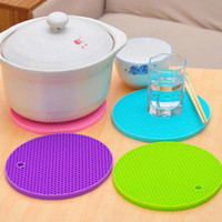 Wholesale Round Trivet - Kitchen Round Silicone Trivet Mat Heat Resistant Pan Holder Pad Table Cup Cushion Placemat Free Shipping ZA4053