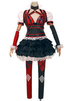 Wholesale Complete Costume - Kukucos Batman Arkham Asylum City Harley Quinn Dress Cosplay Costume Adult Women's Halloween Complete Suit