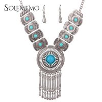 Wholesale White Jade Heart Earrings - Maxi Choker Jewelry Sets Vintage Statement Chain Drop Turquoise Inlaid Tassel Pendant Earrings Necklace Women Accessories N4005