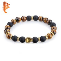 Wholesale Tigers Eye Skull Bracelet - BELAWANG Natural Tiger Eyes&Black Onyx Stone Wrist Men's Bracelet Gold Plated Skull Head Bead Bracelet Fashion Jewelry for Father's Day Gift