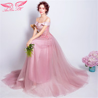 A-Line spring annual flowers - AnXin SH Pink flowers evening dress word shoulder bride evening dress service long section dinner annual pink lace evening dress