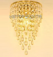 Wholesale Hanging Crystal Wall Lights Bedroom - Golden TV Background Crystal Egg Hanging Wall Lights Bedroom Bedsides Corridor Luxury Wall Sconce European Living Room Hallway Wall lamp