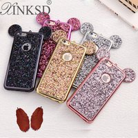 Wholesale 3d Bling Cell Phone Cases - 3D Mouse Ears Soft Case Cover case for Apple iPhone 7 Plus Luxury Glitter Bling Cell Phone Cases goophone i7 plus