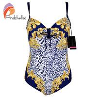 Wholesale One Piece Swimsuits Underwire - Andzhelika Plus Size Swimsuit One Piece Leopard Print Bodysuit Large Cup Underwire Swimwear Bathing Suit Monokini L-4XL AK60757