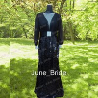 Wholesale High Quality Chiffon Fabric - Real Photo Illusion Long Sleeve Evening Gown Dresses Pleated Chiffon Sequined Fabric Deep V Neck Column Black Formal Prom Dress High Quality