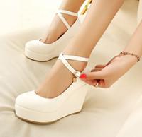 topuklu sandalet toptan satış-Yeni moda beyaz siyah takozlar kadın ayakkabı platformu pompaları yüksek topuk yuvarlak ayak ayakkabı ilkbahar sonbahar sandalet gelinlik ayakkabı parti rahat