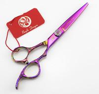 Wholesale gem hair scissors resale online - Purple dragon Hair scissors Rainbow Hair Scissors GEM screw INCH Rose carving handle hair tesoura Simple packing NEW