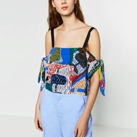 Wholesale Top Tank Ethnic - Wholesale-Vintage Ethnic Colorful Geometric Pattern Spaghetti Strap Off Shoulder Bow Tie Sleeve Short Camis Casual Tank Tee Sexy Women Top
