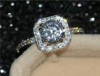 conjunto de jóias elegantes do casamento venda por atacado-Luxo Retro Imitação de Ouro Banhado A Platina Inlay Anel de Diamante Conjunto Anel de Casamento Fancy Jewelry Shine Brilhante Luxuoso