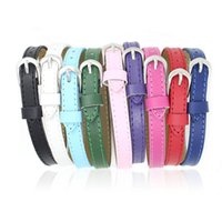 Wholesale Wholesale 8mm Leather Band - 8MM Authentic Leather Metal Wristband watch band Bracelets DIY Accessory Fit Slide Letter & noosa snap button bracelet