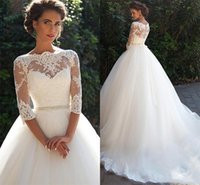 Wholesale Half Pearl Buttons - 2017 New Vintage Lace Wedding Dresses Bateau Half Sleeves Pearls Tulle Wedding Gowns Cheap Bridal Dresses Custom Made
