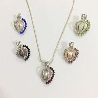 ingrosso pendenti colorati del branello-Medaglione a forma di cuore 18KGP con gemme colorate lucenti, può contenere un montaggio del pendente della gabbia della perla del branello di 9mm, fabbricazione di gioielli di modo di DIY