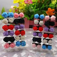 Wholesale Nickel Free Stud - 12 Pairs Rose Flower Stud Earring Mixed Color Flower Wholesale Lot Nickel Free 06ZG
