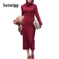 Großhandels-koreanisches Art-Torsion-strickte langes Strickjacke-Kleid 2016 Winter-Turtleneck-Torsion-spinnendes gestricktes rückseitiges aufgeteiltes Bodycon langes Strickjacke-Kleid
