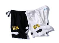 Wholesale Draping Waist - Off White Shorts Summer Streetwear Religion Casual Off White Shorts Skateboard Harajuku Fashion Striped Black Off White Shorts