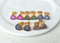 Wholesale Titanium Drusy Wholesale - 5 pair Mixed Color 8mm triangle Druzy drusy Stone Gold plated Natural Agate Titanium Stud Earrings ER65