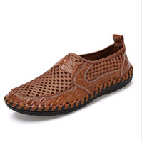 Wholesale handmade cloth shoes - 2017 summer new fashion leisure men's sandals hollow out net top wire cloth breathable tide handmade shoes single big yards