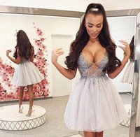 Wholesale mini dress see through beaded - Sexy Deep V Neck Short Party Dresses Sheer Neckline Appliques Sequins Beads A Line Cheap Homecoming Dress See Through Prom Gowns Formal Wear