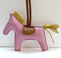 Wholesale leather handmade key bag - orse keychain Luxury Handmade Lambskin Genuine Leather Horse Keychain Animal Key Chain Women Bag Charm Pendant Bag Accessories Birthday ...