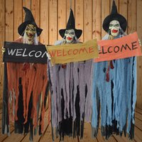 Wholesale Scary Decorations - 110*45Cm Halloween Props Huanted House Chambers Playground Bar KTV Prank Props Decoration Welcome Hanging Ghost Scary Sound Making Prop
