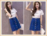 Wholesale Jean Skirt Shorts Women - Denim Skirt 2017 Summer Style Women Short Skirts Sexy Single Row Button Faldas A-Line Blue Jean Casual Fashion High Waist Saia