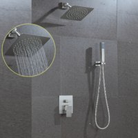 Wholesale New Design Rain Shower - New design ultra thin water saving shower head set rainfall 8inch square stainless steel brushed in-wall big rain bathroom shower head set