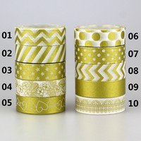 Wholesale Gummed Tape Wholesale - Wholesale- 2016 1Roll Gold Color Decorative Washi Tape Gummed Tape Sticky Paper Masking Adhesive Tapes Scrapbook Decorative 10M*15MM
