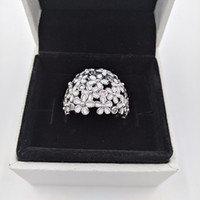 925 14k weißgold ring großhandel-Authentische 925 Sterling Silber Ringe Silber Daisy Ring mit klarem Zirkonia und weißem Emaille passt europäischen Pandora Style Schmuck 190936EN12