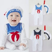 Wholesale Navy Style Hat - 2 color 2017 Europe and America style hot sell kids romper round collar Navy printed +hat 2 pieces sets newborn romper 100% cotton romper