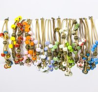 Wholesale Vintage Cloisonne Beads - Women Ethnic Style Ceramic Bracelets & Bangles Handmad Bohemia Vintage Jewelry Double Layer String Colorful Beads Beaded aa286