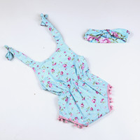 Wholesale Wholesale Boutique Bow Supplies - Supply Kids Favor Baby Romper Clothes Boutique Baby Clothes Girl Hipster Floral Romper With Bow Headbands Wholesale