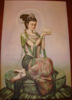 lona feericamente das pinturas venda por atacado-Emoldurado, Enorme Handpainted Dunhuang Fada Avalokitesvara Guanyin Retrato Arte Da Parede Pinturas A Óleo Na Lona Multi Tamanhos pode ser personalizado R77