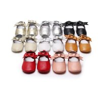 Wholesale Pre Walker White Shoes - Baby shoes 2017 new baby girls bows soft comfortable Pre walker Infant bows T first walkers shoes babies genuine leather shoes 6230