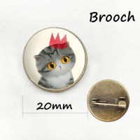 Wholesale Metal Baby Charms - Cartoon Cat brooches lovely jewelry wearable Art charms baby cat glass cabochon dome metal animal brooch pins cute gifts