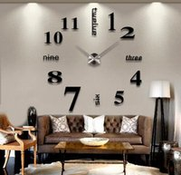 Wholesale Wall Clock Diy Numbers - Wholesale-3D Large English Letters Arabic Numbers Frameless Mirror Surface Wall Clock Oversized Clock DIY Art Watches Home Decoration