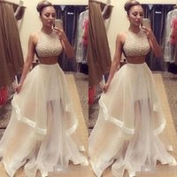 Wholesale Two Piece Night Gowns Women - Wholesale- Hot Sequins Top Two Pieces Sexy Long Mixi Dresses Solid Party Ball Gowns Voile Dress