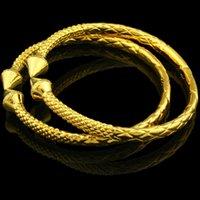 Wholesale Dragon Bracelet Women - New Dubai Bangles for Women Men Gold Color Dragon Bangle Bracelet Ethiopian India African Jewelry