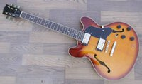 jazz gitarre hohlkörper f löcher großhandel-Nagelneues freies Verschiffen Soem-halb hohle Körperjazz-E-Gitarre mit doppeltem f-Loch und cutway