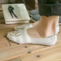 Wholesale Thin Cotton Slippers - Wholesale- 4 Pairs New Fashion Invisible Socks Women Cotton 100% Cotton Socks Striped Print Boat Socks Silicone Thin Smooth Sock Slippers