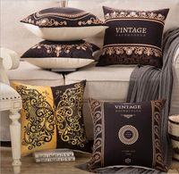 Wholesale Browns Plains Hotel - Wholesale- Pillow Case Gorgeous Royal Crown Bed Pillows Cover Linen Cotton 45x45cm Brown Decorative Cushions Cover Vintage Home bedroom Co