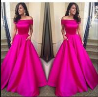 vestido linea fucsia rosa al por mayor-Caliente fucsia rosa vestido de fiesta fuera del hombro una línea de vestido de noche Nueva llegada vestidos de fiesta por encargo vestidos de noche formales