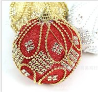 Wholesale Blue Baubles - 8cm sticky diamond beads high-end Christmas ball Baubles Xmas Party Wedding Hanging Ornament Christmas Decoration Supplies