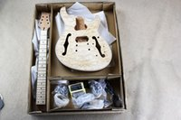 Wholesale Diy Kit Guitars - DIY 6 strings Electric Guitar Kit With Basswood Body Rosewood fretboard Model Offer Customized