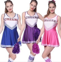 Wholesale Musical Costumes - 2017 High School Musical Cheerleader Costume Cheer Uniform Fancy Dress Without Pom poms 5 Color M-XXL
