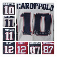 Wholesale 10 Jimmy Garoppolo Jerseys Julian Edelman Tom Brady Rob Gronkowski Jersey Embroidery Logos Cheap Sale