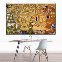 Wholesale Modern Painters Paintings - ZZ1739 modern decorative canvas art tree of life by Austrian Painter Gustav Klimt canvas pictures oil art painting unframed art