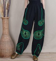 Wholesale Cotton Bloomers For Women - Cotton linen bloomers pants for women plus size green embroidery elastic waist spring autumn chinese style harem pants loose lcn0701